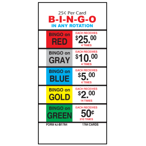 25 Cent Bingo / J-BI1764 Card
