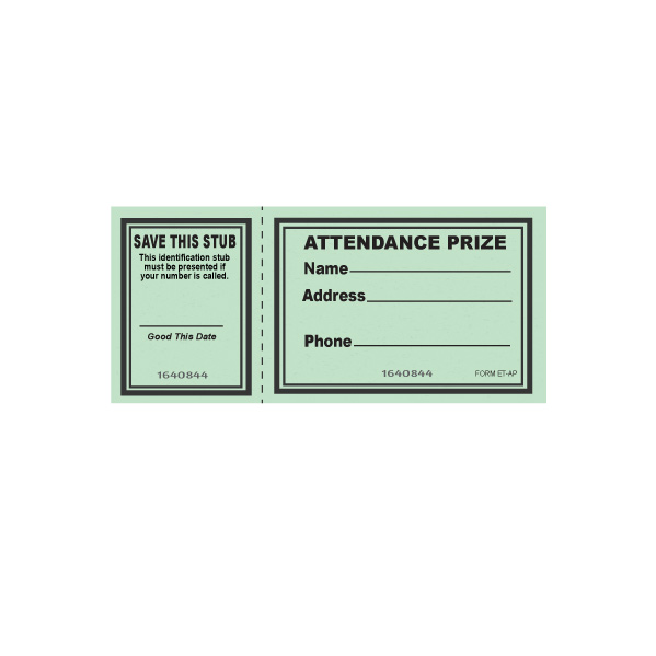 ATTENDANCE PRIZE TICKETS Muncie Novelty